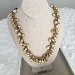J. Crew gold and pearl adjustable length necklace